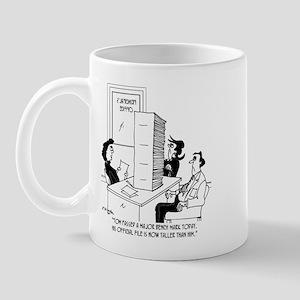 Kid's File Taller than He is. Mug