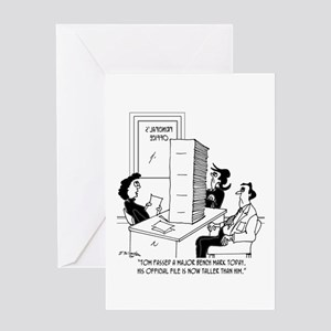 Kid's File Taller than He is. Greeting Card