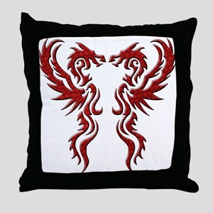 Twin Dragons: Red Throw Pillow