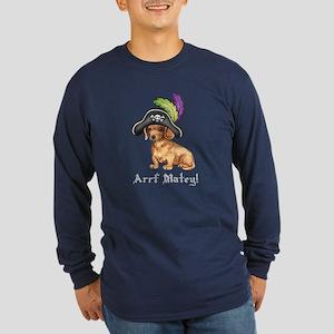 Dachshund Pirate Long Sleeve Dark T-Shirt