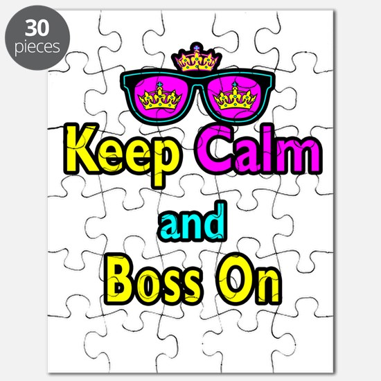 Crown Sunglasses Keep Calm And Boss On Puzzle