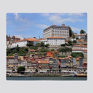 Historic buildings and river, Porto, Throw Blanket