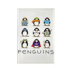 9 Penguins Rectangle Magnet