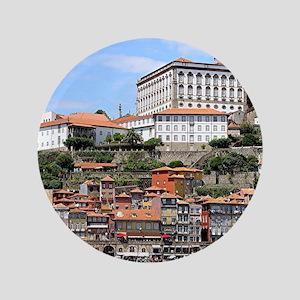Historic buildings and river, Porto, Portug Button
