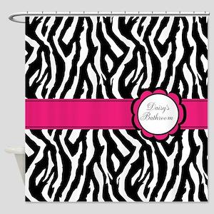 Personalized girly zebra Shower Curtain