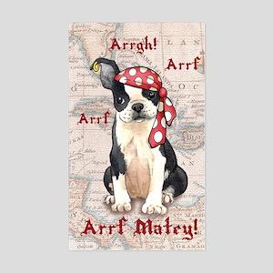 Boston Terrier Pirate Rectangle Sticker