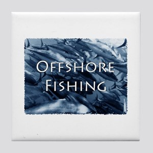 Offshore Fishing Tuna Logo Tile Coaster
