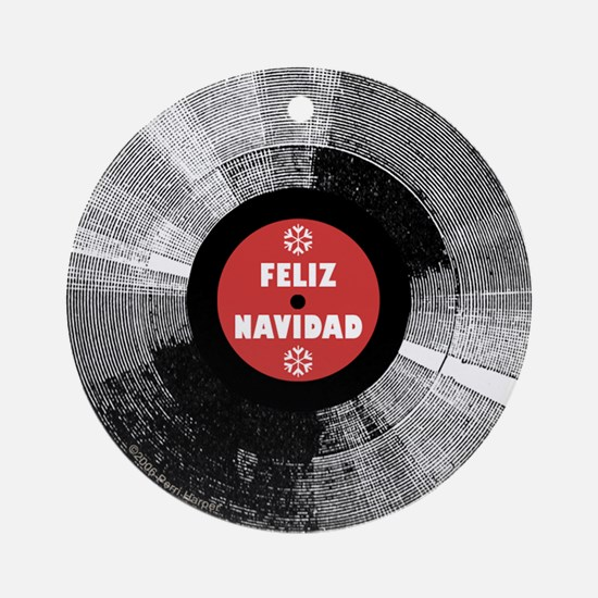 Holiday Record Ornament - Feliz/Red (Round)