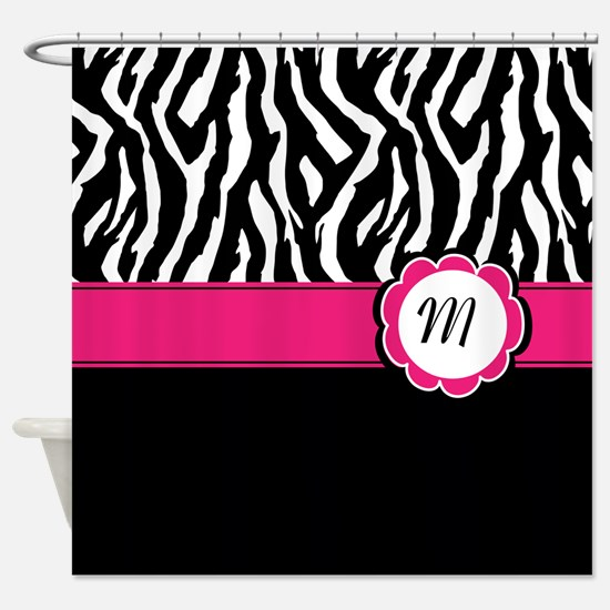 Monogrammed Zebra print Shower Curtain