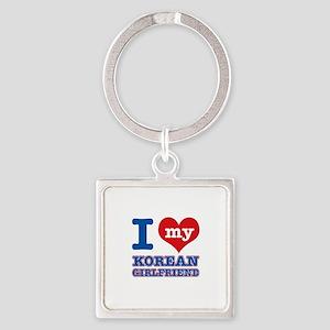 I love My Korean Girlfriend Square Keychain