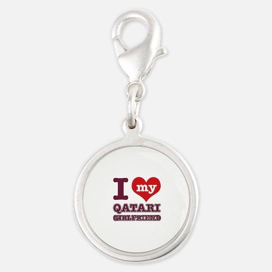 I love My Qatari Girlfriend Silver Round Charm