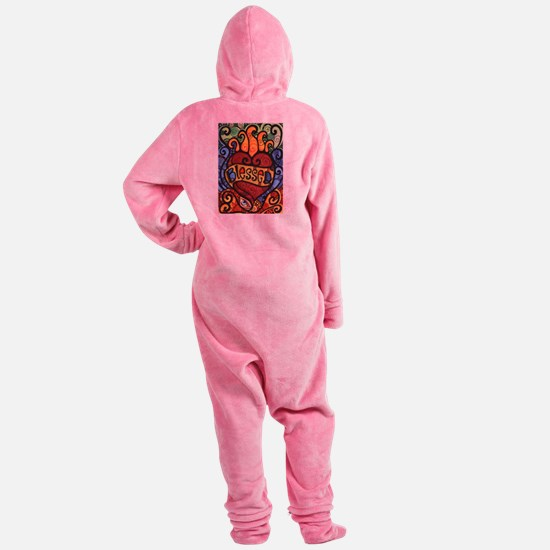 Blessed Flaming Heart Footed Pajamas