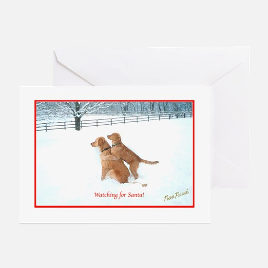 Goldens Watching for Santa Christmas Cards Greetin