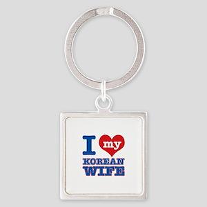 I love my Korean Wife Square Keychain