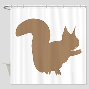 Brown Squirrel Silhouette Shower Curtain