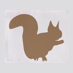 Brown Squirrel Silhouette Throw Blanket