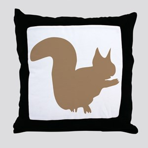 Brown Squirrel Silhouette Throw Pillow