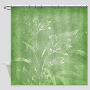 Green Flowered Shower Curtain