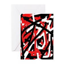 Black, Red and White Gra Greeting Cards (Pk of 20)
