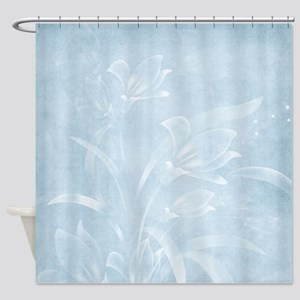 Blue Flowered Shower Curtain