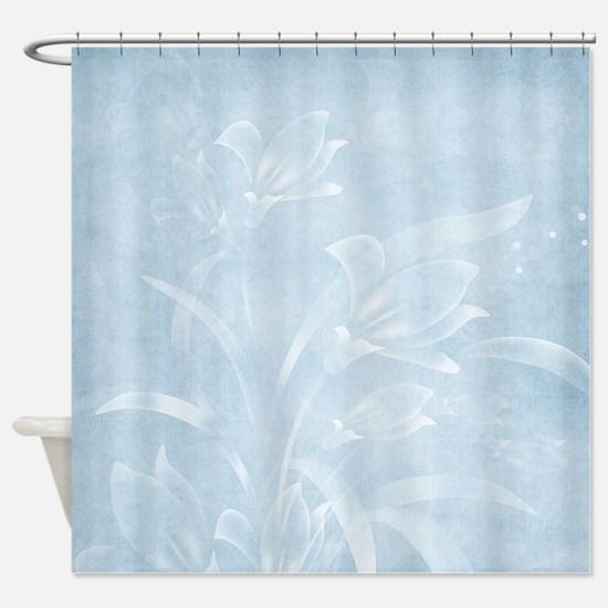Blue Flowered Shower Curtain