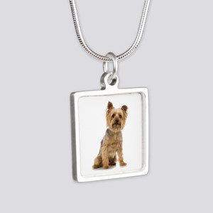 Yorkshire Terrier Silver Square Necklace