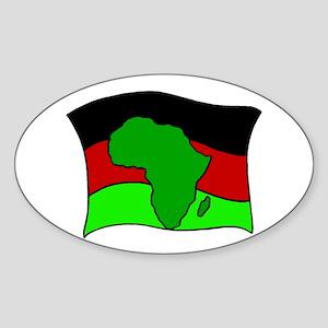 African Flag Kwanzaa Oval Sticker
