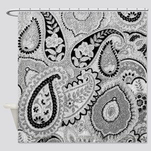 Gray Paisley Floral Shower Curtain