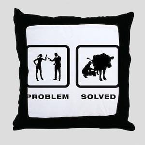 Cow Milking Throw Pillow
