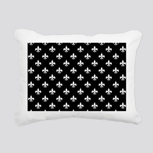 Black and White Fleur de Lis Rectangular Canvas Pi