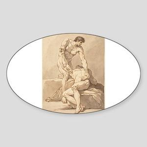 Johann Heinrich Lips - Two Naked Men Sticker