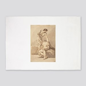 Johann Heinrich Lips - Two Naked Men 5'x7'Area Rug