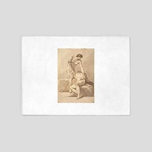 Johann Heinrich Lips - Two Naked Men 5'x7'Area Rug
