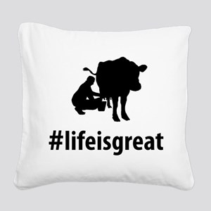 Cow Milking Square Canvas Pillow
