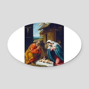 Lorenzo Lotto - The Nativity Oval Car Magnet