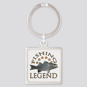 Fishing legend Striped Bass Square Keychain