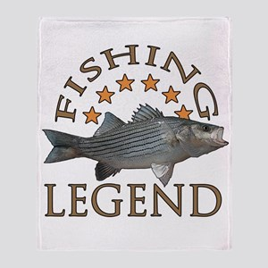 Fishing legend Striped Bass Throw Blanket