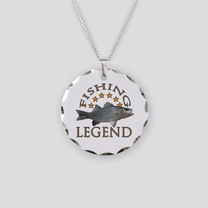 Fishing legend Striped Bass Necklace Circle Charm