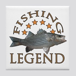 Fishing legend Striped Bass Tile Coaster