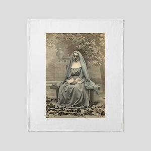 Sad Nun Throw Blanket