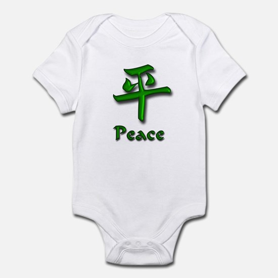 Peace in English/Kanji Green  Infant Bodysuit