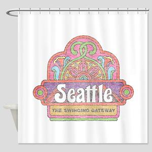 Vintage Seattle Shower Curtain