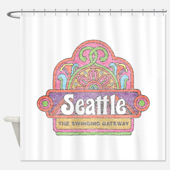 Vintage Seattle Shower Curtain