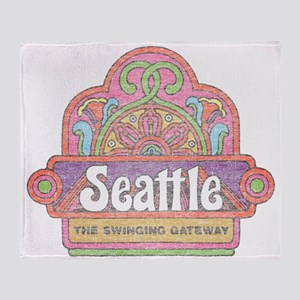 Vintage Seattle Throw Blanket