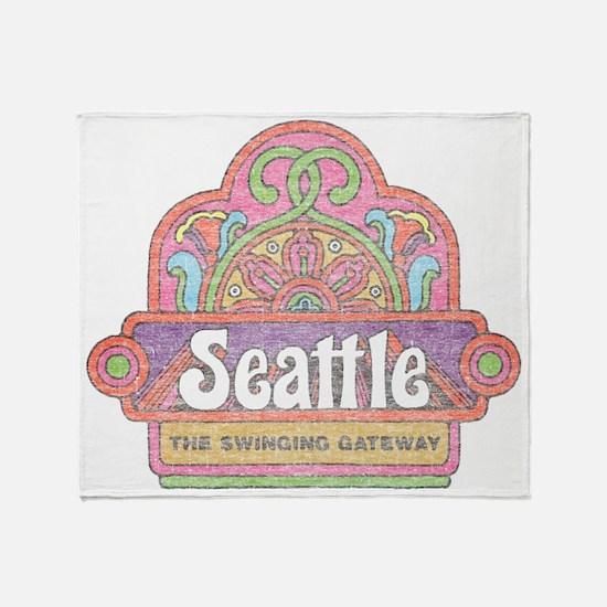 Vintage Seattle Throw Blanket
