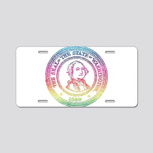 Vintage Washington Rainbow Aluminum License Plate