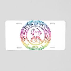 Vintage Washington Rainbow Aluminum License Plate