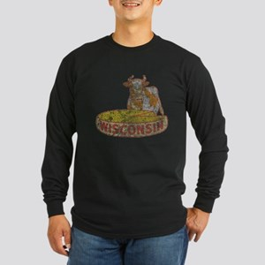 Faded Vintage Wisconsin Cheese Long Sleeve Dark T-