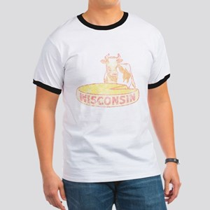 Faded Vintage Wisconsin Cheese Ringer T