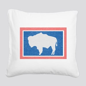 Wyoming State Flag Square Canvas Pillow
